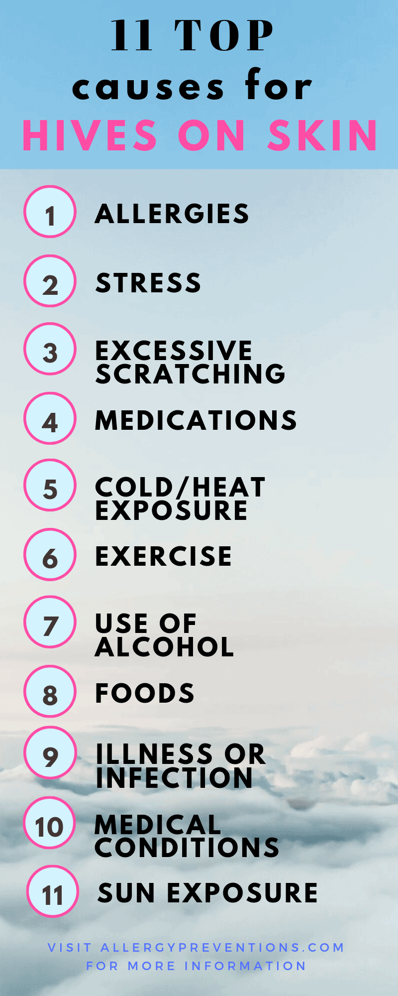 Top 11 causes for hives on skin infographic visual