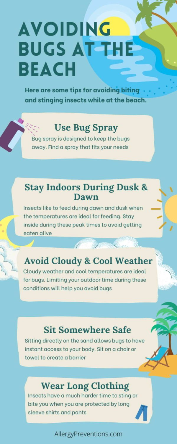 avoid insect bites at the beach infographic. 1. wear bug spray. 2. Stay indoors during dawn and dusk 3. Avoid cloudy and cold weather 4. Sit somewhere safe 5. wear long clothing