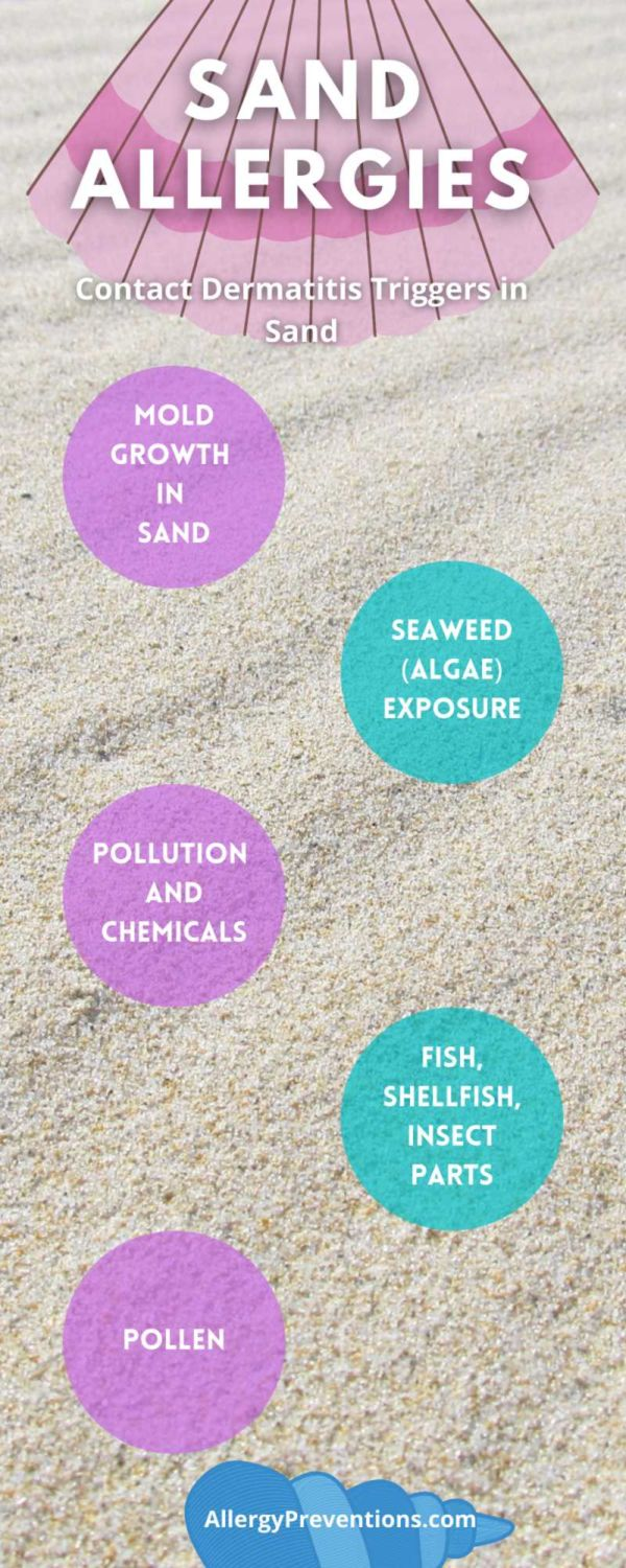 sand allergies infographic. contact dermatitis in sand causes. 1. mold growth in sand 2. seaweed/algae exposure 3. pollution and chemicals 4. fish, shellfish, insect parts 5. pollen